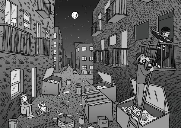Comic artwork dark alleyway night drawing. Cartoon perspective drawing of city alley dumpsters balconies.