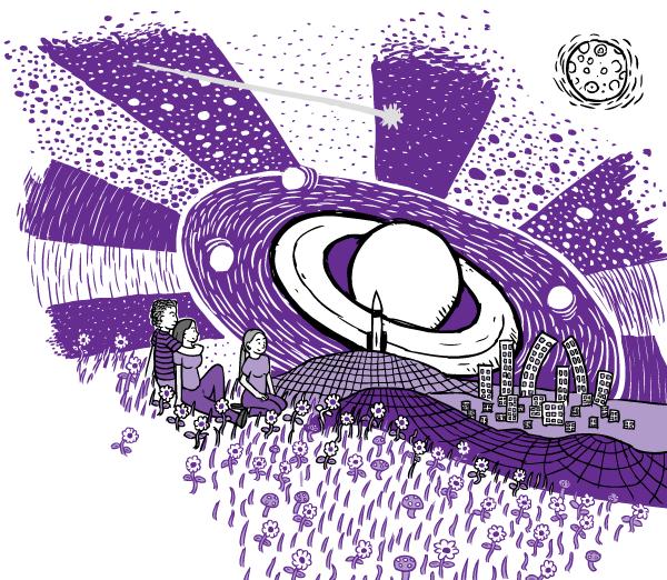 Cartoon purple drug trip. Drawing of three friends on drugs sitting on purple grass looking at warped city skyline. Stars, planet Saturn.