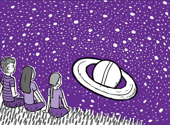 Cartoon drawing of three friends looking at purple night sky. White stars and Saturn on purple sky,