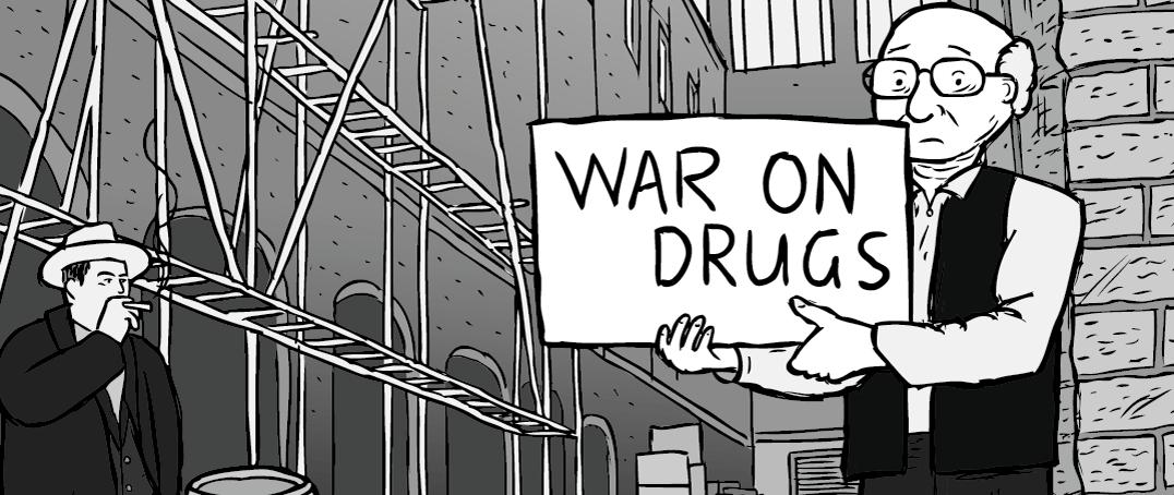 My drug period thumbnail - Milton Friedman standing in an alleyway cartoon.