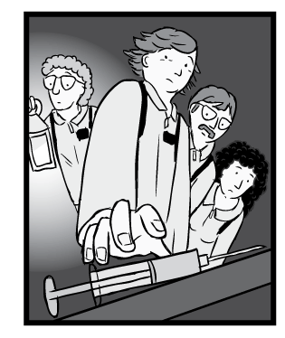 Low angle cartoon drawing of Rat Park scientists picking up morphine drug syringe. Black and white, glowing lantern.