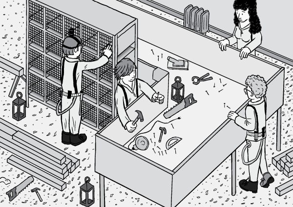 Cartoon illustration of Rat Park researchers constructing apparatus. Isometric view high angle perspective drawing.
