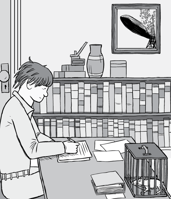 Cartoon psychologist Bruce Alexander working at writing desk. Black and white drawing of man working at 1980s office desk with books on shelves.