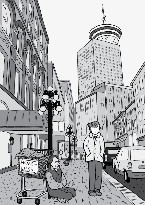 Drawing of man walking down Vancouver street past homeless man with shopping cart. Black and white cartoon drawing Gastown near Harbour Centre.