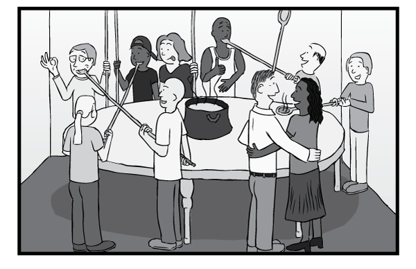 Parable of the long spoons heaven. Cartoon people happy feeding each other with long spoons allegory.
