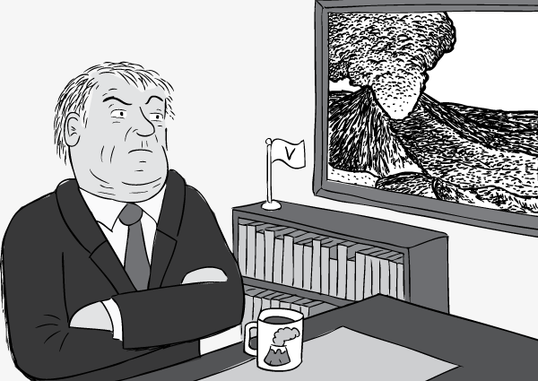 Cartoon conservative man sitting at desk, arms folded.