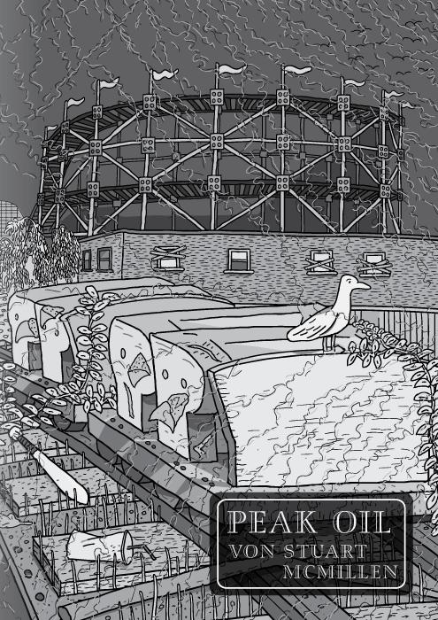 Peak Oil Comic von Stuart McMillen. Titelseite. Rollercoaster von den Red House Painters (intentionality of translation?). SchwarzweißZeichnung eines Achterbahnwagens in einem verlassenen Vergnügungspark.