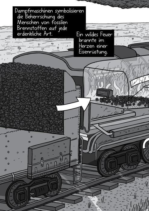 Querschnittzeichnung einer Dampflok mit Kohlenanhänger. Dampfmaschinen symbolisieren die Beherrschung des Menschen von fossilen Brennstoffen auf jede erdenkliche Art. Ein wildes Feuer brannte im Herzen einer Eisenrüstung.