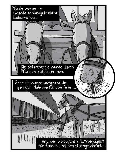 Frontale Zeichnung eines Pferdes mit Zuggeschirr. Pferde waren im Grunde sonnengetriebene Lokomotiven. Die Solarenergie wurde durch Pflanzen aufgenommen. Aber sie waren aufgrund des geringen Nährwertes von Gras und der biologischen Notwendigkeit für Pausen und Schlaf eingeschränkt.