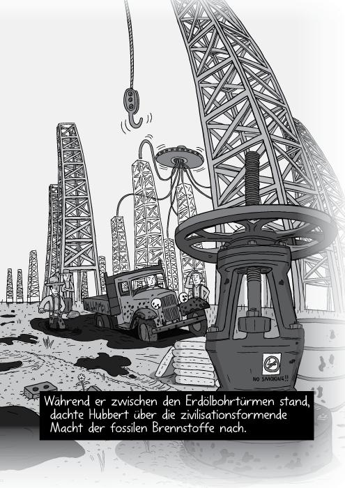 Schwarz-Weiss-Zeichnung Ölfelder Panorama mit Bohrtürmen in Ölfeldern. Während er zwischen den Erdölbohrtürmen stand, dachte Hubbert über die zivilisationsformende Macht der fossilen Brennstoffe nach.