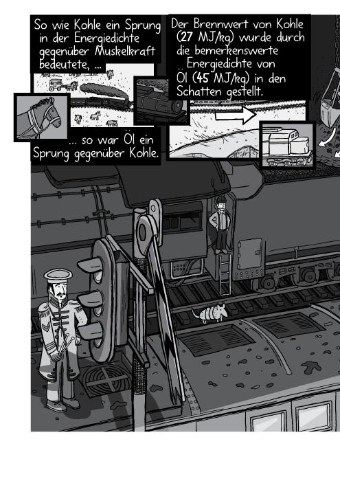 Überblickszeichnung eines Güterbahnhofs mit Signalen. So wie Kohle ein Sprung in der Energiedichte gegenüber Muskelkraft bedeutete, so war Öl ein Sprung gegenüber Kohle. Der Brennwert von Kohle (27 MJ/kg) wurde durch die bemerkenswerte Energiedichte von Öl (45 MJ/kg) in den Schatten gestellt.