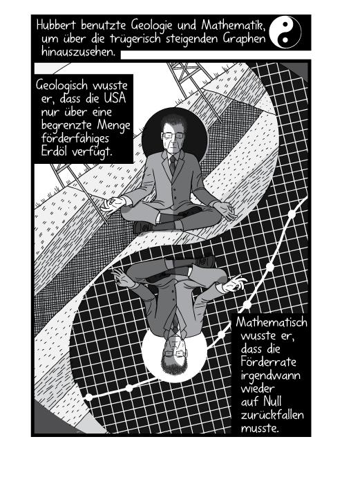 Eine Comiczeichnung parodiert das Ying und Yang Symbol. Hubbert benutzte Geologie und Mathematik, um über die trügerisch steigenden Graphen hinauszusehen. Geologisch wusste er, dass die USA nur über eine begrenzte Menge förderfähiges Erdöl verfügt. Mathematisch wusste er, dass die Förderrate irgendwann wieder auf Null zurückfallen musste.