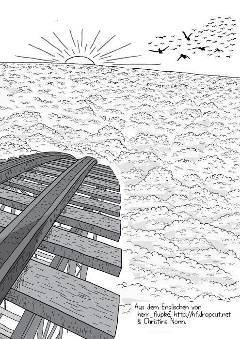 Die Achterbahnstrecke führt in eine dichte Wolkendecke.