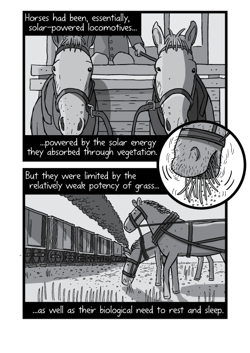 Cartoon drawings of harnessed horses black and white. Horses had been, essentially, solar-powered locomotives... ...powered by the solar energy they absorbed through vegetation. But they were limited by the relatively weak potency of grass... ...as well as their biological need to rest and sleep.