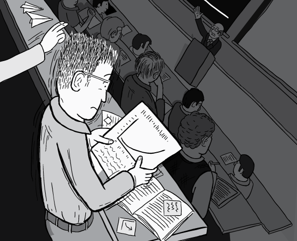 Black and white cartoon of man in classroom reading surprising information. View over shoulder of shocked student.