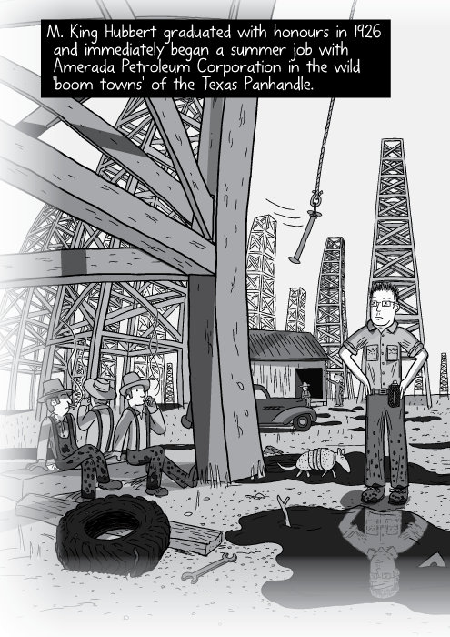 Panorama illustration oil fields. Black and white cartoon of workers sitting under oil derricks. M. King Hubbert graduated with honours in 1926 and immediately began a summer job with Amerada Petroleum Corporation in the wild 'boom towns' of the Texas Panhandle.
