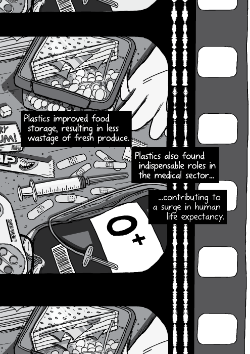 Black and white illustration of medical supplies. Cartoon blood bag, gloves. Plastics improved food storage, resulting in less wastage of fresh produce. Plastics also found indispensable roles in the medical sector... ...contributing to a surge in human life expectancy.