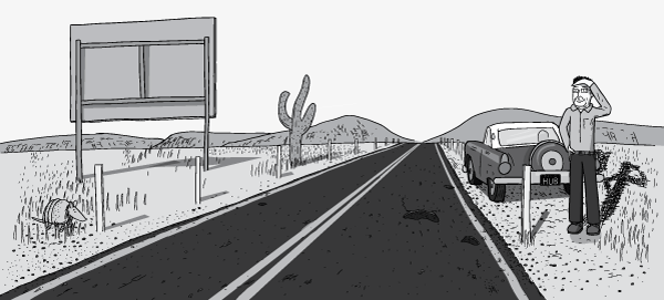 Man standing on the side of a desert highway, shielding his eyes from the sun with his hand. Drawing of roadside billboard, cactuses and armadillo in middle of desert scene. Broken down car: 1956 Ford Thunderbird.