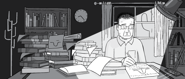 Cartoon man with glasses working in darkened office, illuminated by desk man. Drawing of messy office desk during night time.