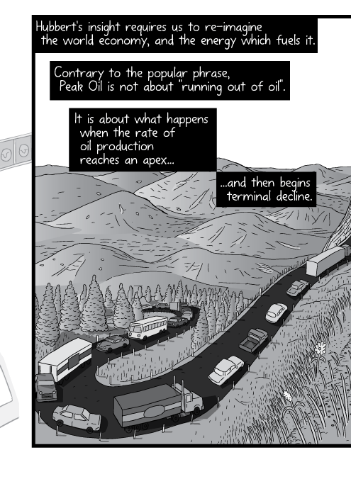 Comic strip drawing of winding mountain road. Cartoon cars climbing hill. Hubbert's insight requires us to re-imagine the world economy, and the energy which fuels it. Contrary to the popular phrase, Peak Oil is not about