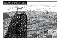 Wind gusts blowing past a half-completed roller coaster slope built in the middle of a city. Windy day above city office towers. High angle cartoon drawing of urban sprawl.