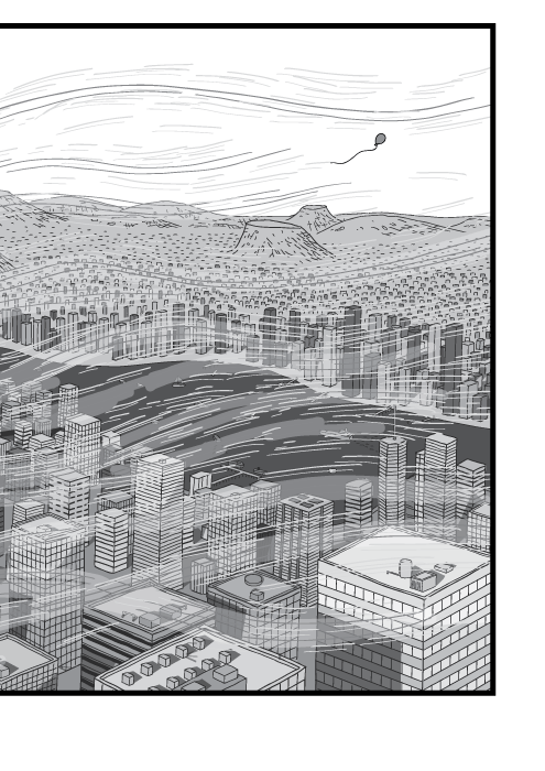 Black and white drawing of high angle city. Detailed city skyline with cartoon wind gusts.