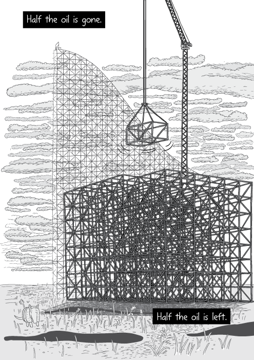 Crane lifting truss from stack of trusses. Black and white drawing. Half the oil is gone. Half the oil is left.