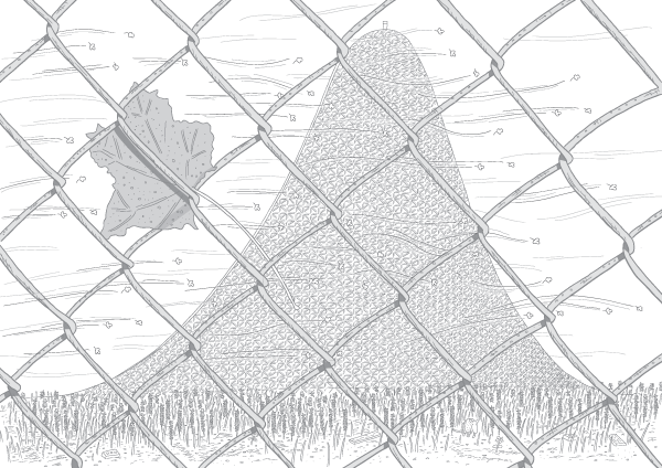 Plaintive cartoon drawing of distant roller coaster slope on windy day. Drawing of dead left caught in chain-link fence.