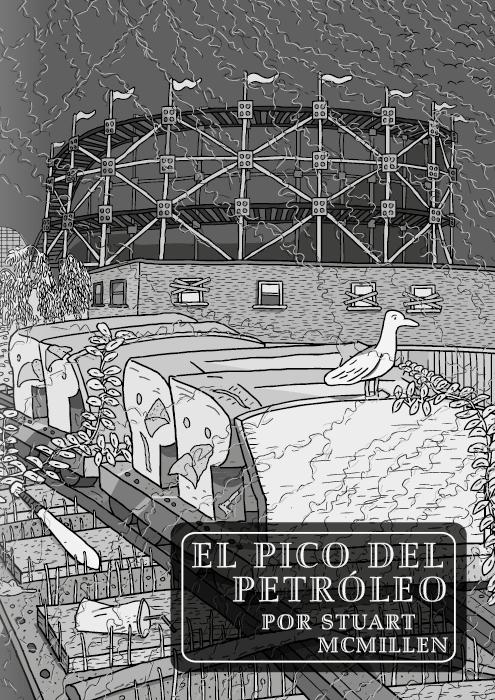 Tira cómica sobre el pico de petróleo de Stuart McMillen. Página Título. Montaña Rusa de los Pintores de la Casa Roja. Dibujo en blanco y negro de un carruaje de montaña rusa abandonado en un parque de diversiones.