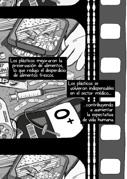 Blanco y negro cómica. Los plásticos mejoraron la preservación de alimentos frescos que resultó en menores desperdicios. Los plásticos se volvieron indispensables en el sector médico contribuyendo a aumentar la expectativa de vida humana.