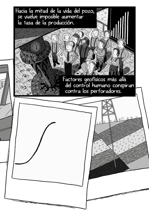 Blanco y negro cómica. Hacia la mitad de la vida del pozo, se vuelve imposible aumentar el rendimiento del pozo. Factores geofísicos más allá del control humano conspiran contra los perforadores.