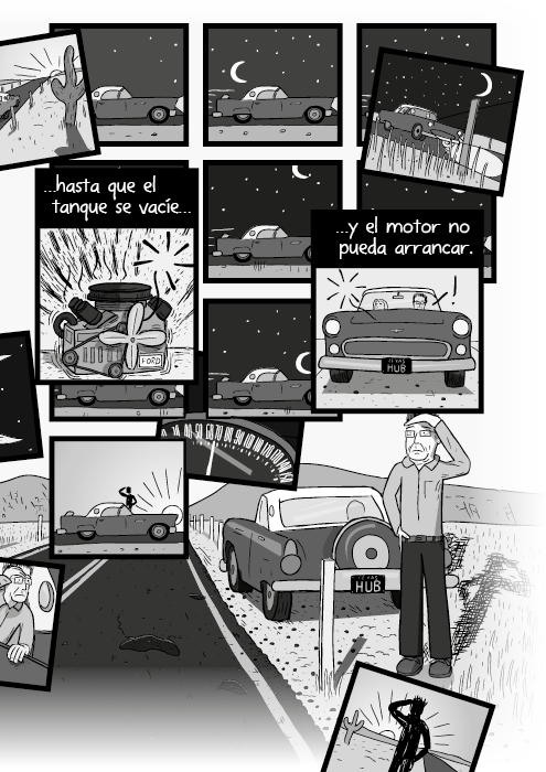 Blanco y negro cómica. …justo hasta que el tanque se acabe y el motor parará completamente.