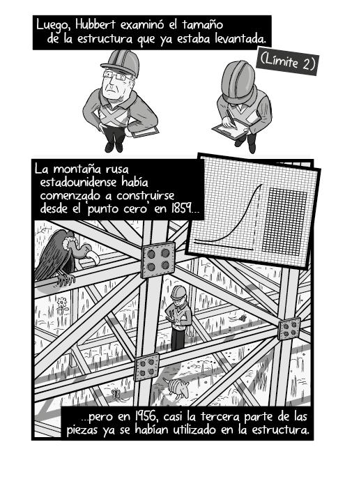 Blanco y negro cómica. Hubbert luego examinó el tamaño de la estructura que se levantaba. La montaña rusa estadounidense había comenzado a construirse desde el 'punto cero' en 1859 pero en 1956, cerca de la tercera parte de forjados ya se habían utilizado en la estructura.