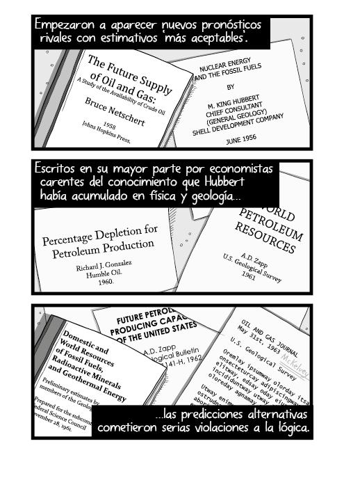 Ilustración pila montón de libros documentos académicos sobre la mesa. Nuevos pronósticos rivales salían en ráfagas con estimativos 'más aceptables'. Escritos por economistas carentes del conocimiento supremo que Hubbert había acumulado en física y geología las predicciones alternas cometieron serias violaciones a la lógica.