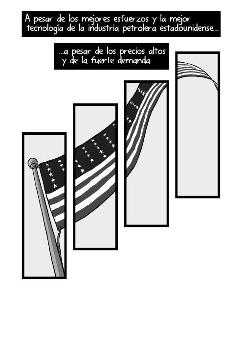 Vista inferior asta de bandera estadounidense. A pesar de los mejores esfuerzos de la industria petrolera americana y su mejor tecnología a pesar de los precios altos y fuerte demanda…