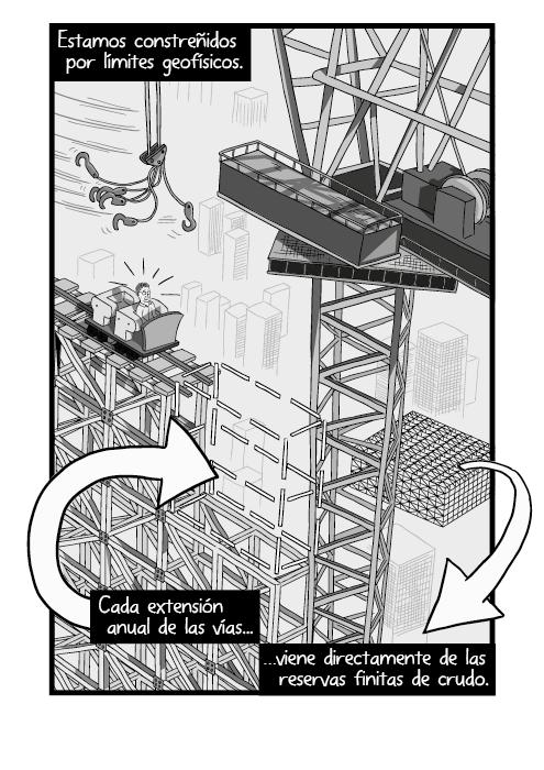 Blanco y negro cómica. Estamos constreñidos por límites geofísicos. En cada extensión anual del avance viene directamente de las reservas finitas de crudo.