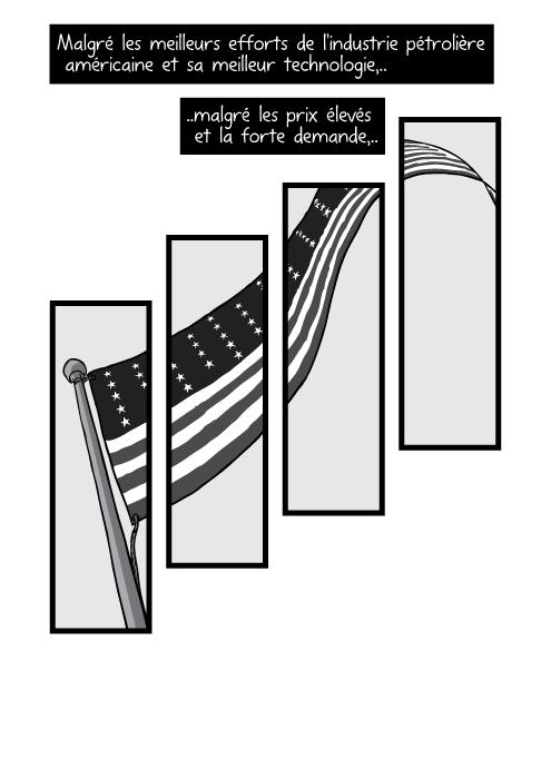 Vue en contre plongée d'un drapeau américain sur son mât. Malgré les meilleurs efforts de l'industrie pétrolière américaine et sa meilleur technologie, malgré les prix élevés et la forte demande,..