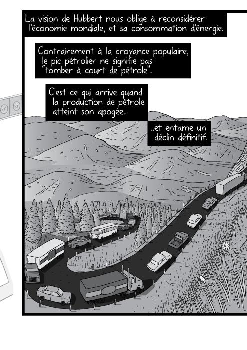 """Dessin d'une route de montagne en lacets. Des voitures montent la pente. La vision de Hubbert nous oblige à reconsidérer l'économie mondiale, et sa consommation d'énergie. Contrairement à la croyance populaire, le pic pétrolier ne signifie pas """"tomber à court de pétrole"""". C'est ce qui arrive quand la production de pétrole atteint son apogée et entame un déclin définitif."""