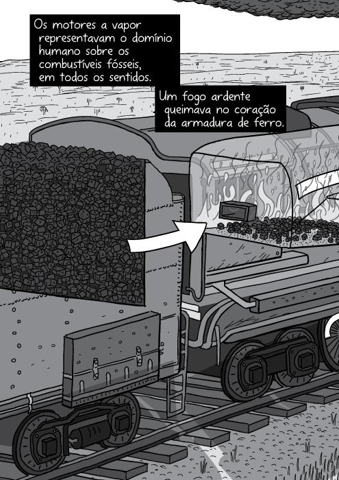 Cartum corte transversal locomotiva a vapor. Desenho em preto e branco vagão de carvão. Os motores a vapor representavam o domínio humano sobre os combustíveis fósseis, em todos os sentidos. Um fogo ardente queimava no coração da armadura de ferro.