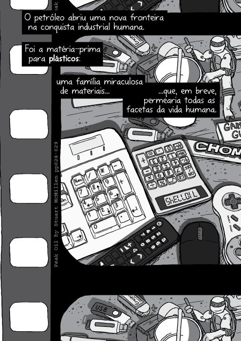 Cartum mesa bagunçada com teclado, mouse de computador, controle remoto, calculadora de plástico, ilustração. O petróleo abriu uma nova fronteira na conquista industrial humana. Foi a matéria-prima para plásticos: uma família miraculosa de materiais que, em breve, permearia todas as facetas da vida humana.