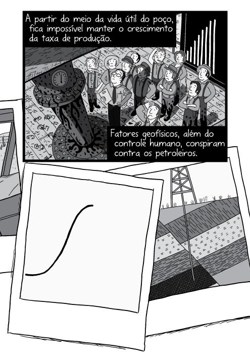 Corte transversal das camadas geológicas em preto e branco. Cartum poço de petróleo. A partir do meio da vida útil do poço, fica impossível manter o crescimento da taxa de produção. Fatores geofísicos, além do controle humano, conspiram contra os petroleiros.