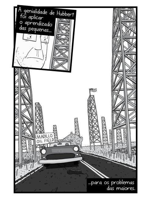 Visão inferior de carro se aproximando pela rodovia empoeirada. A genialidade de Hubbert foi aplicar o aprendizado das pequenas para os problemas das maiores.