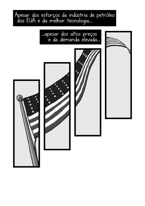Visão inferior do mastro da bandeira americana. Apesar dos esforços da indústria de petróleo dos EUA e da melhor tecnologia apesar dos altos preços e da demanda elevada...