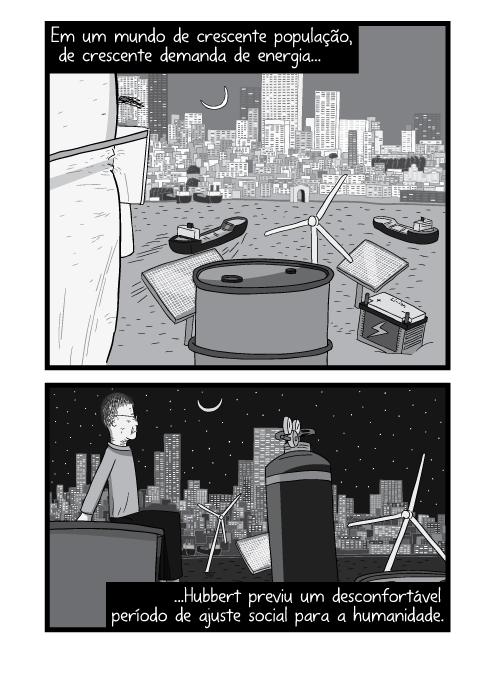Cartum de homem olhando o pôr do sol da cidade, desenho em preto e branco do entardecer. Em um mundo de crescente população, de crescente demanda de energia Hubbert previu um desconfortável período de ajuste social para a humanidade.