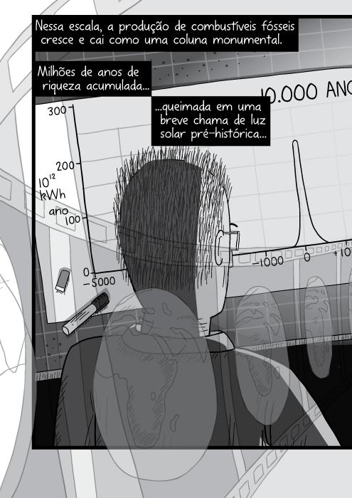 Visão por cima do ombro de homem olhando para a planta de projeto do arquiteto. Desenho em preto e branco. Nessa escala, a produção de combustíveis fósseis cresce e cai como uma coluna monumental. Milhões de anos de riqueza acumulada queimada em uma breve chama de luz solar pré-histórica...