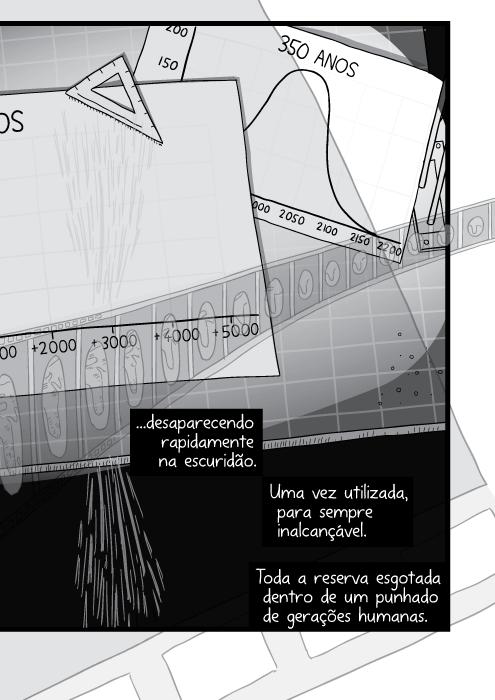Cartum de mesa de desenho bagunçada. Pilha de papéis sobre a mesa do arquiteto. ...desaparecendo rapidamente na escuridão. Uma vez utilizada, para sempre inalcançável. Toda a reserva esgotada dentro de um punhado de gerações humanas.