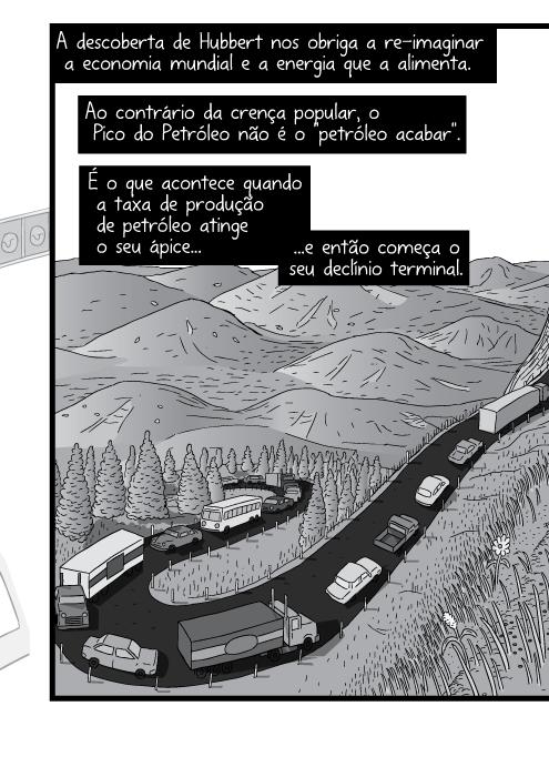 Desenho em cartum de estrada sinuosa na montanha. Cartum de carros subindo a colina. A descoberta de Hubbert nos obriga a re-imaginar a economia mundial e a energia que a alimenta. Ao contrário da crença popular, o Pico do Petróleo não é o