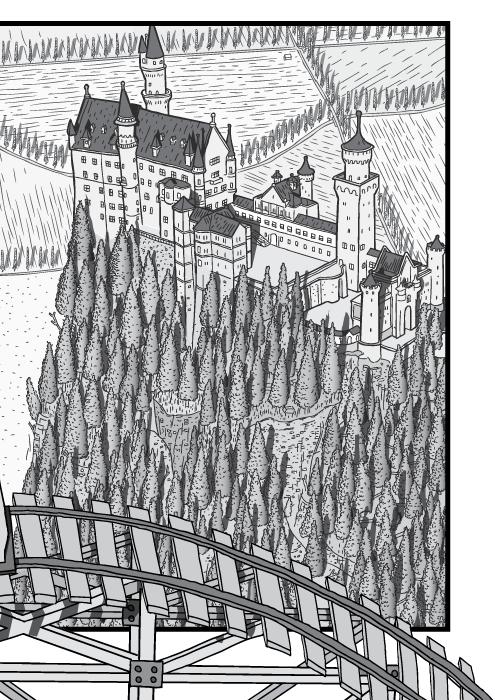 Desenho em cartum de visão superior do castelo de Neuschwanstein. Castelo e floresta de pinheiros em preto e branco.