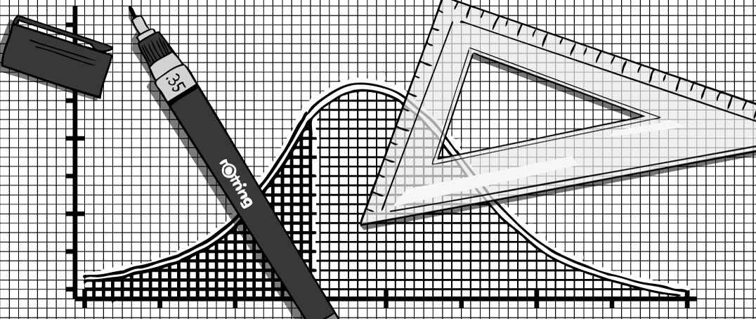 Hand-drawn graph of Peak Oil graph on gridpaper with pen and protractor triangle