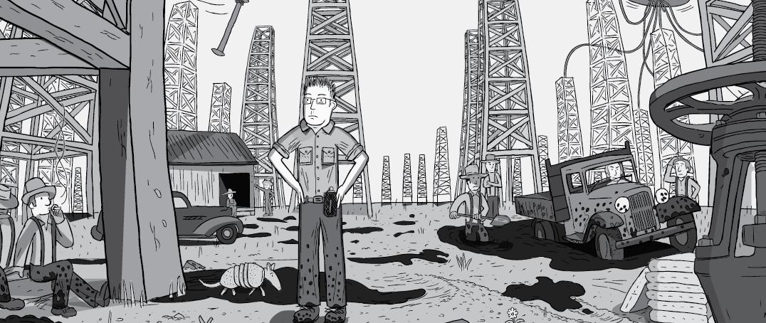Cartoon man standing on oil fields